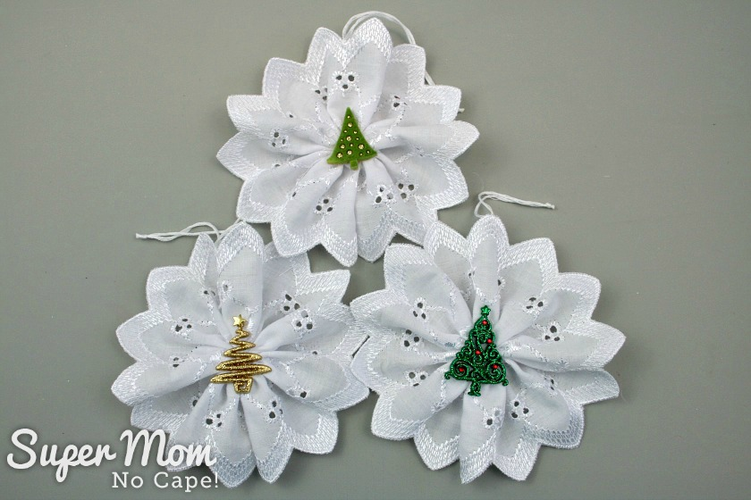 Three Christmas Button Lace Ornaments with tree button centers
