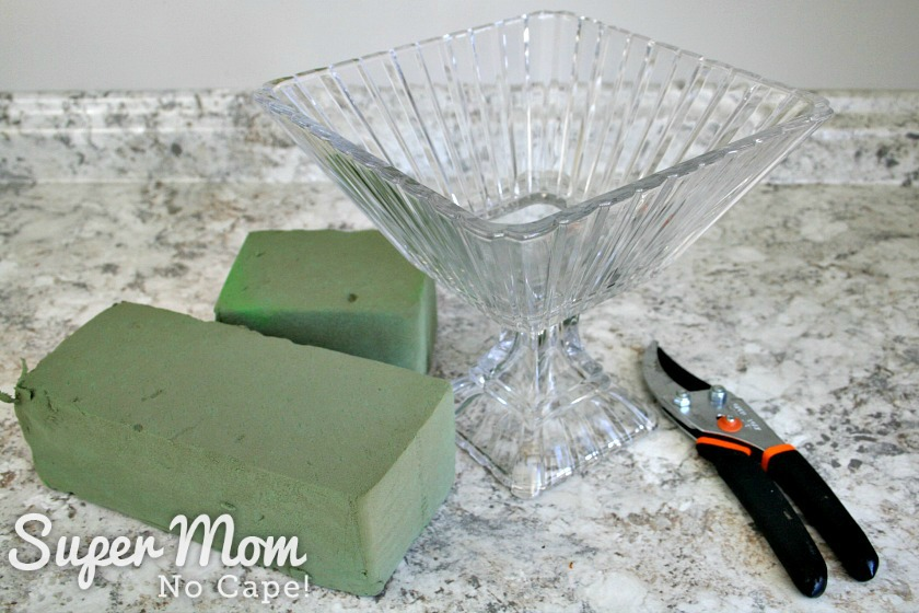 Crystal fruit bowl, wet foam and pruning sheers to use to create a DIY Christmas floral arrangement