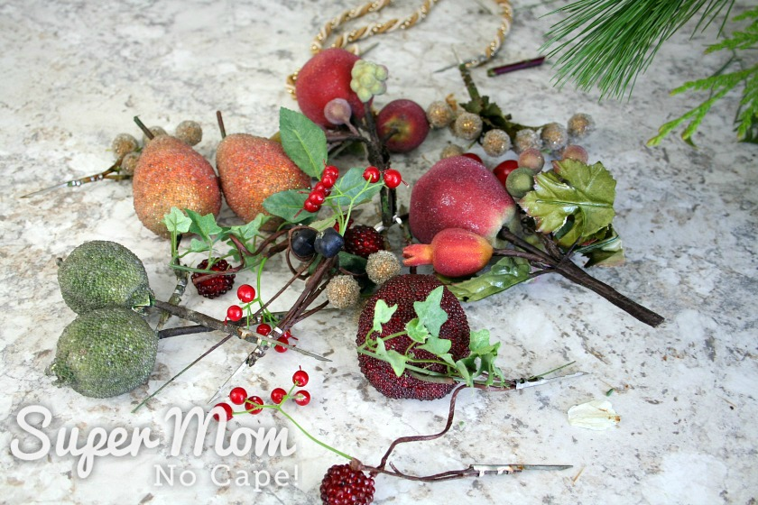Vintage faux sugared fruit to be added to the DIY Christmas floral arrangement