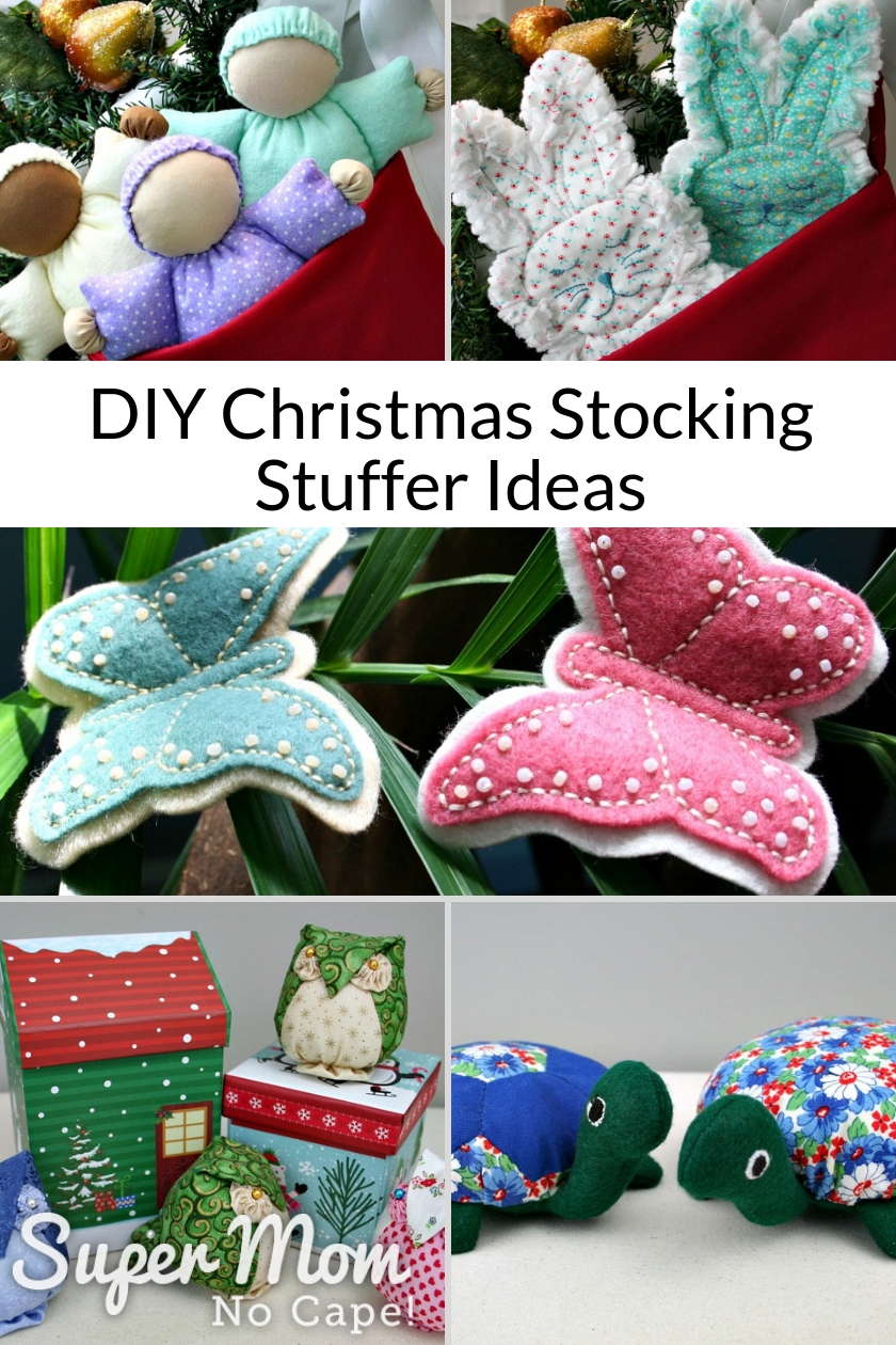 Collage photo of several easy to sewDIY Christmas Stocking Stuffer Ideas
