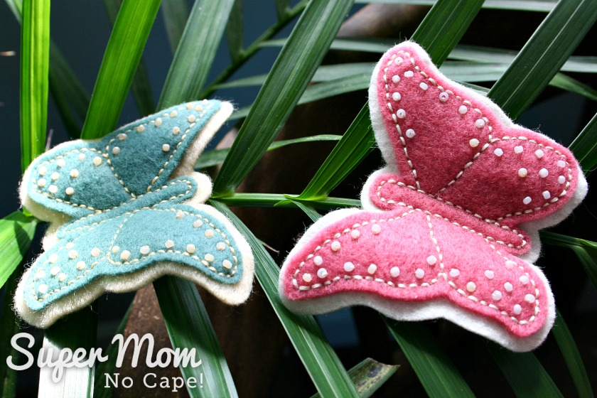 Two Felt Butterflies embroidered and beaded