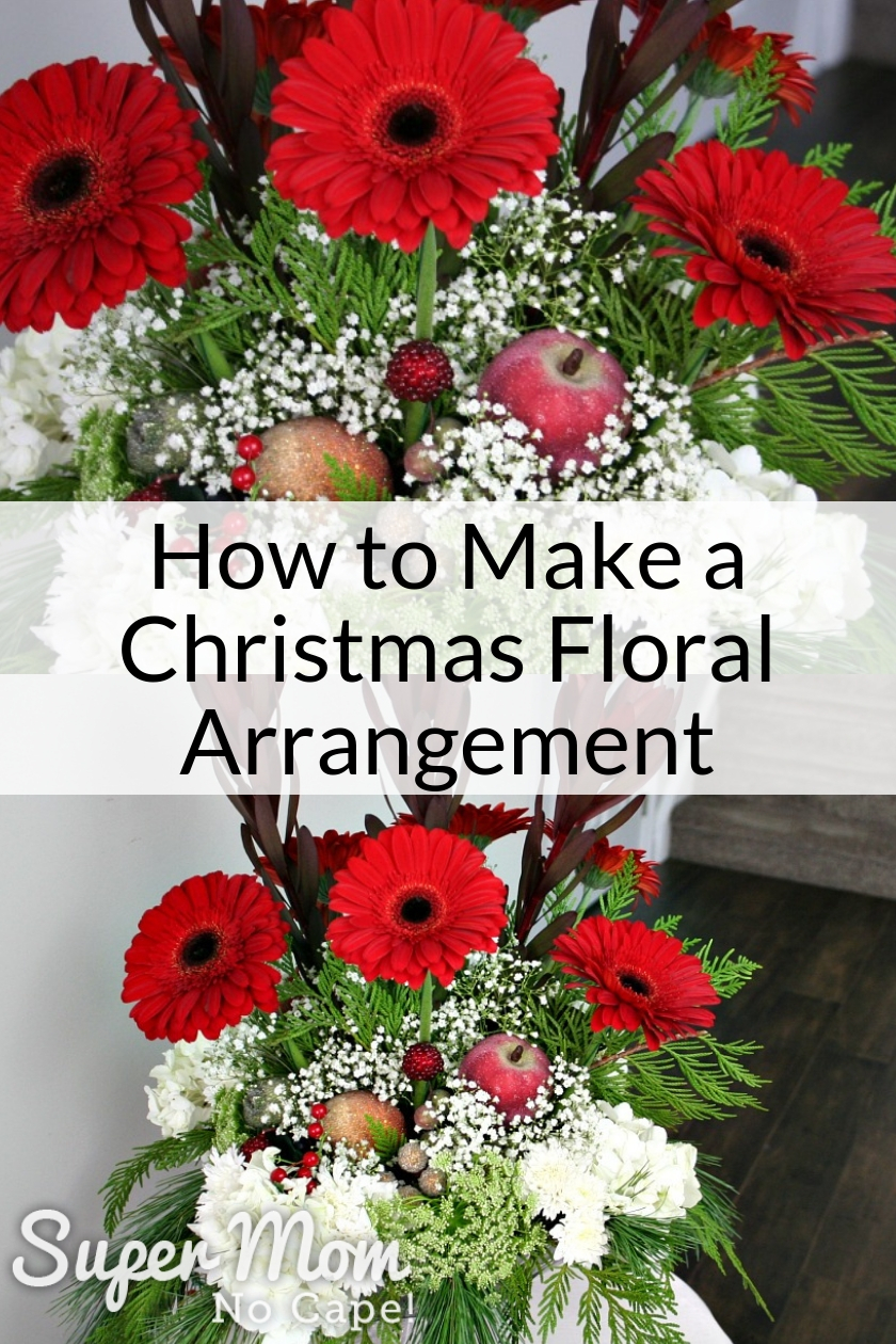 Collage photo of floral arrangement from How to Make a Christmas Floral Arrangement