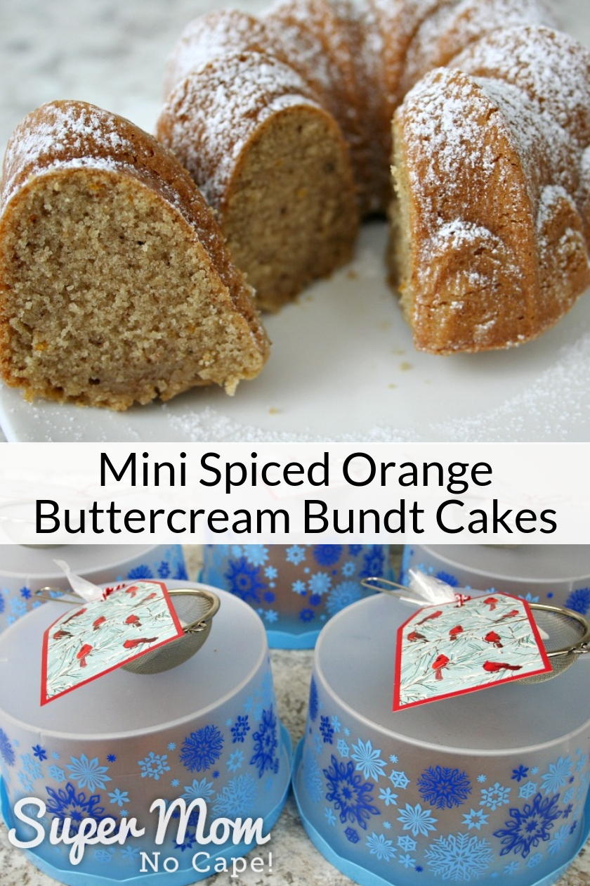 Collage photo of Mini Spiced Orange Buttercream Bundt Cake