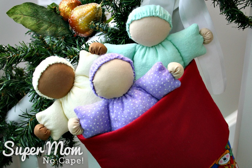 Three Abigail Dolls in top of stocking