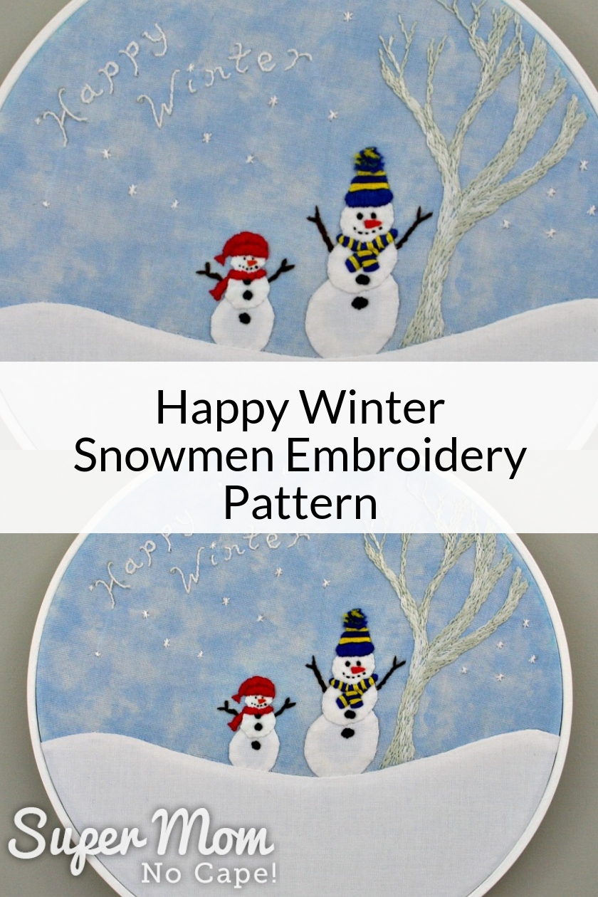 Collage photo of the Happy Winter Embroidery Pattern framed in a white embroidery hoop