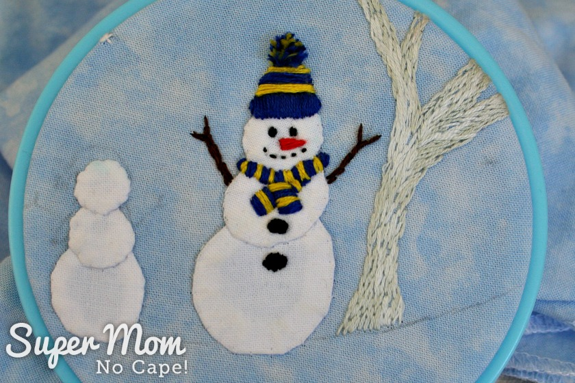 Larger snowman with embroidery finished