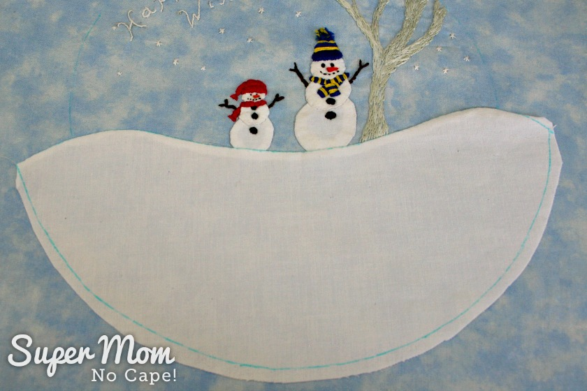 Snow hill top stitched to Happy Winter Snowmen Embroidery