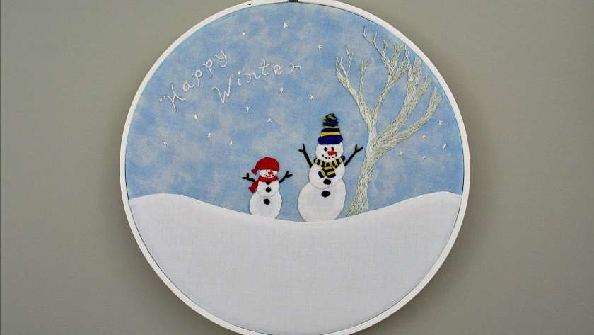 Happy Winter Snowmen Embroidery Pattern