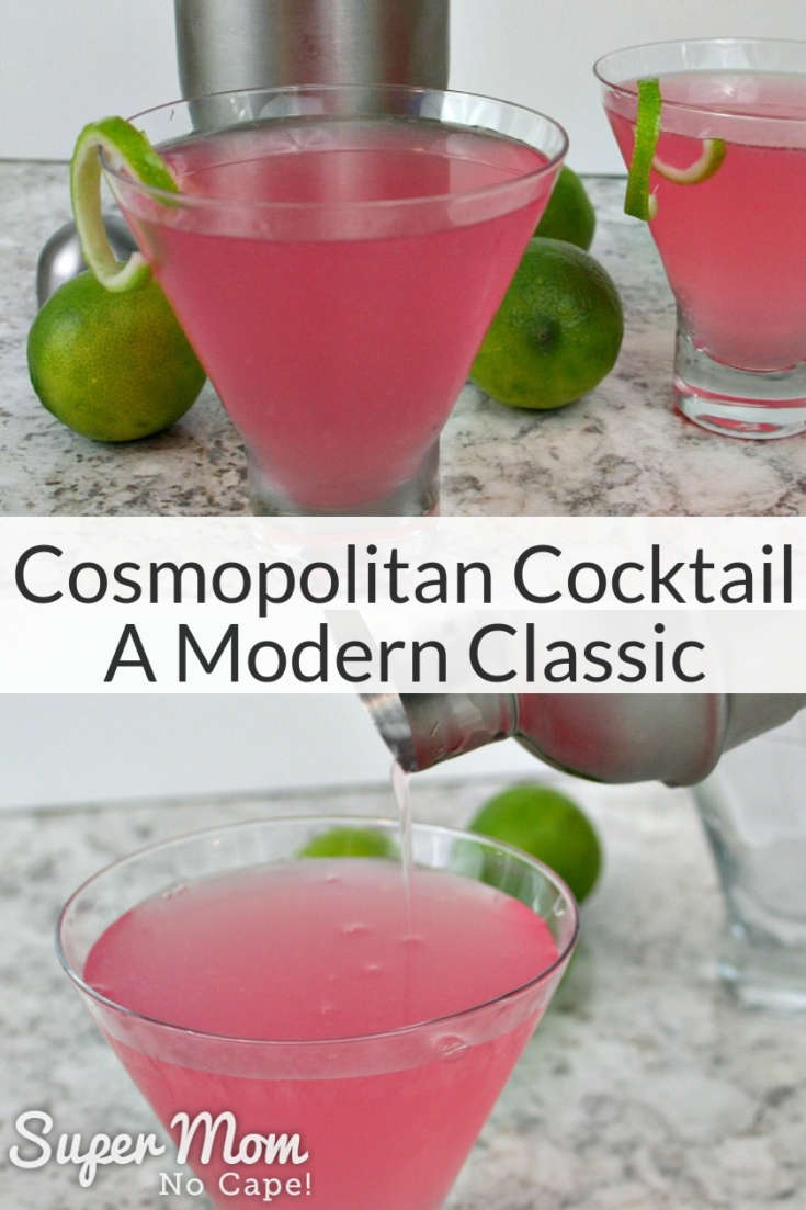 Looking for a smooth, not overly sweet cocktail to make for date night? The Cosmopolitan is a modern classic that's perfect to serve for a romantic evening for two.  Instructions for three different garnishes included with the drink recipe. #Cosmopolitan #Cosmo #cocktails #drinks #datenight