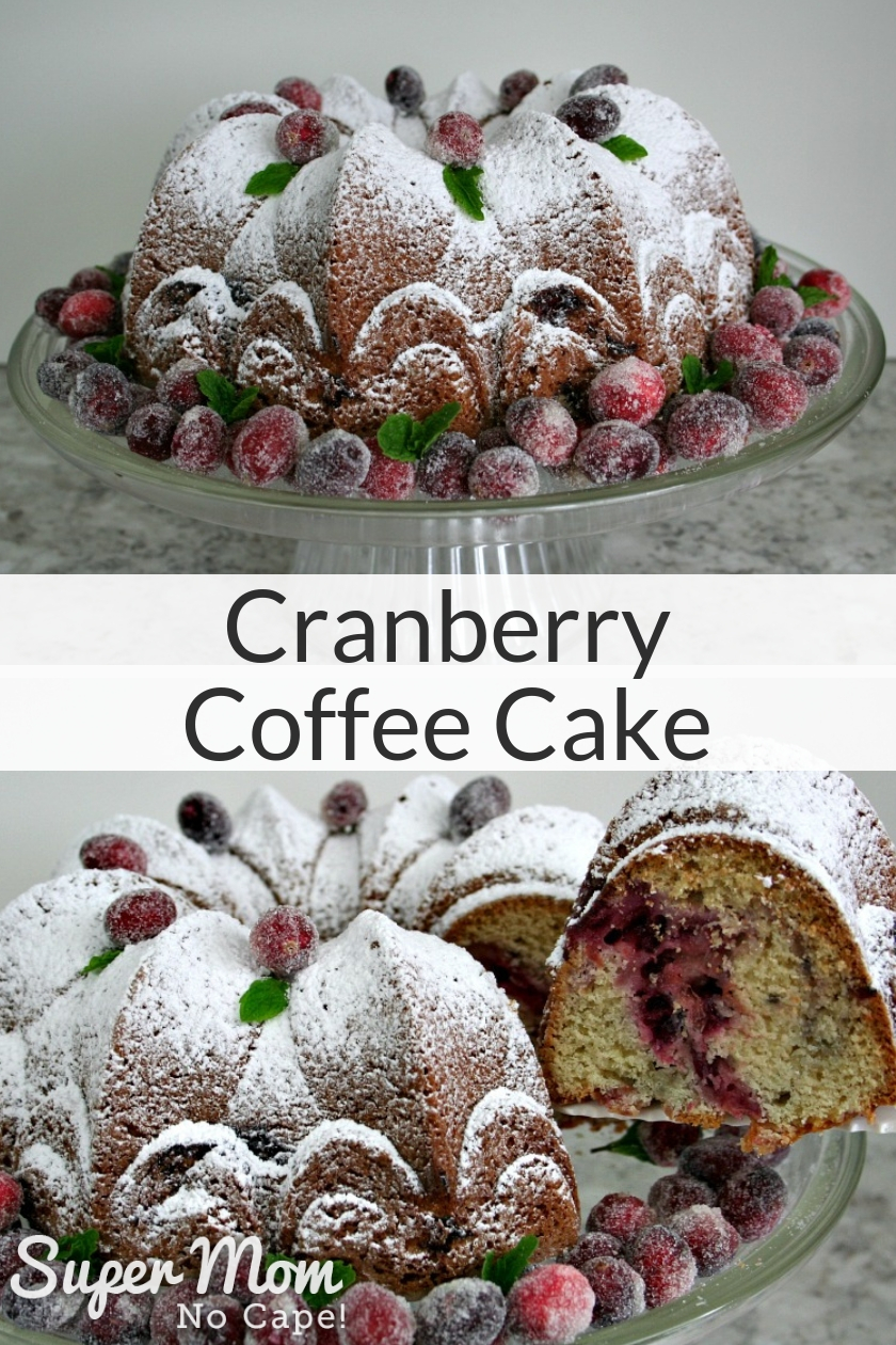 Collage photo of Cranberry Coffee Cake on a cake stand