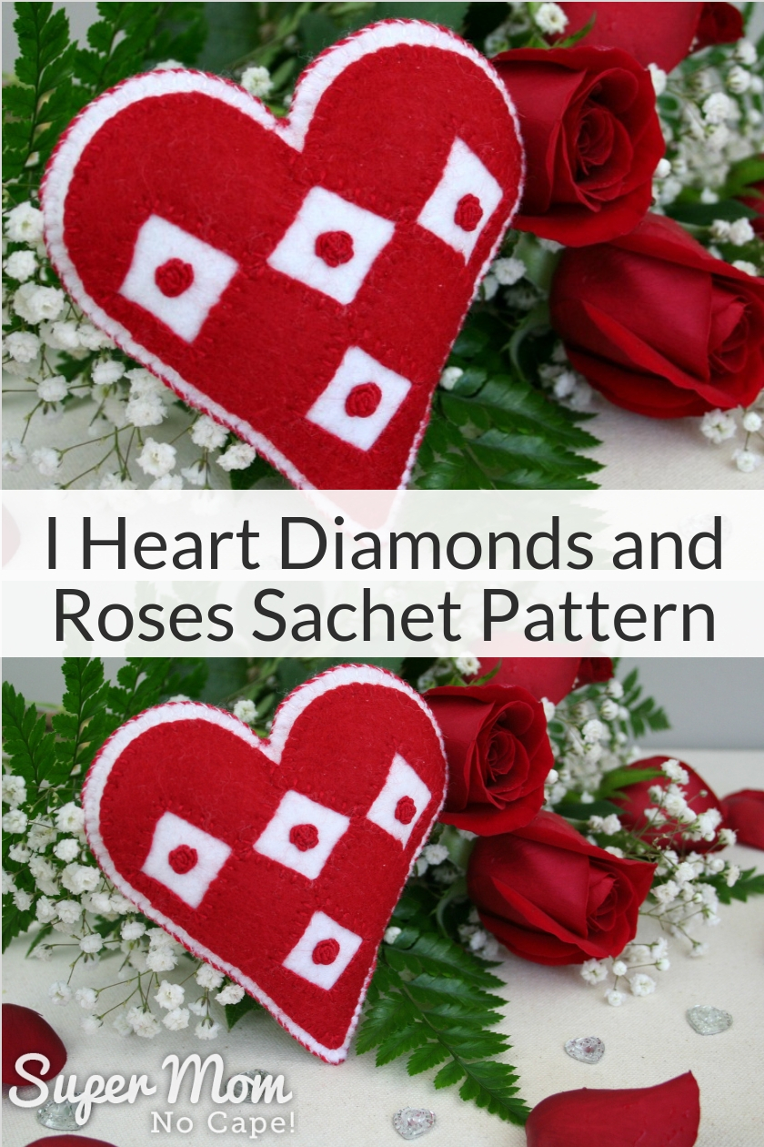 Collage photo of the I Heart Diamonds and Roses Sachet Pattern with a bouquet of roses in the background