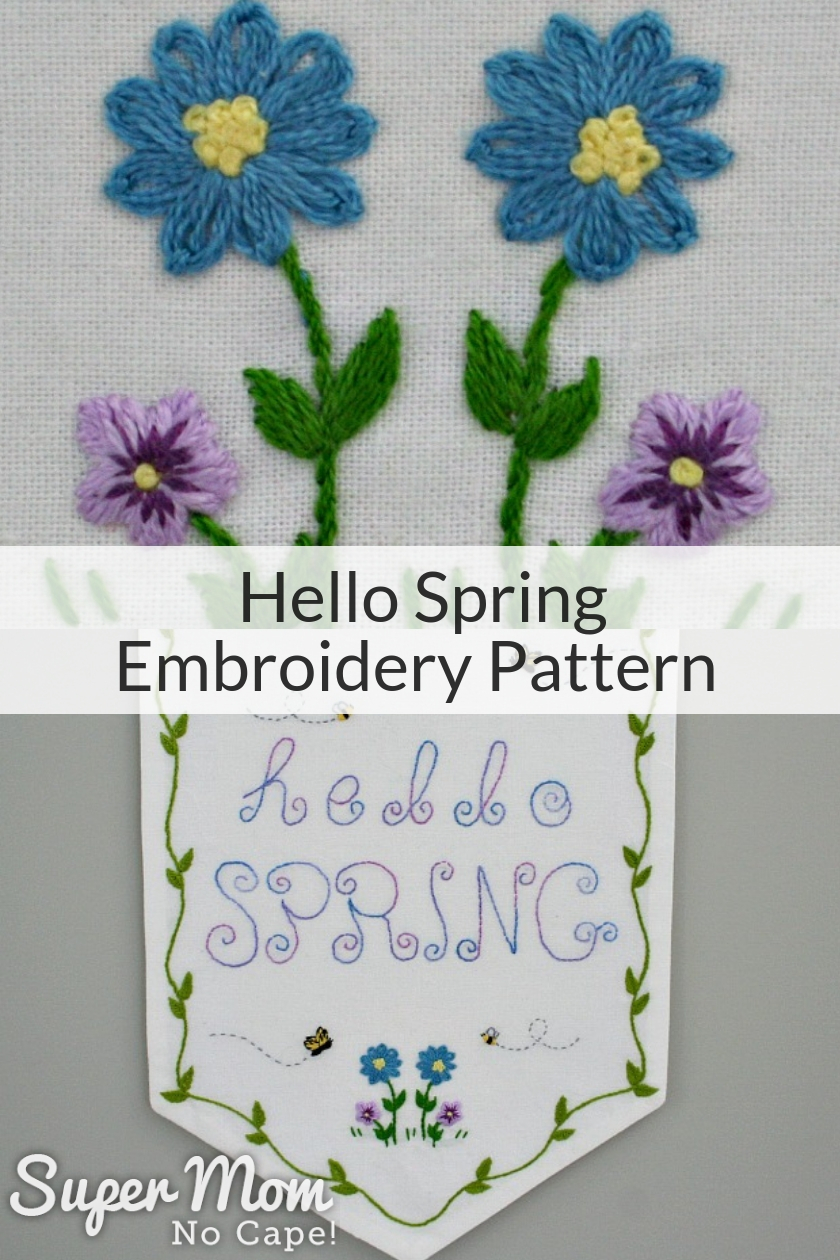 Collage photo of the Hello Spring Embroidery Pattern turned into a banner