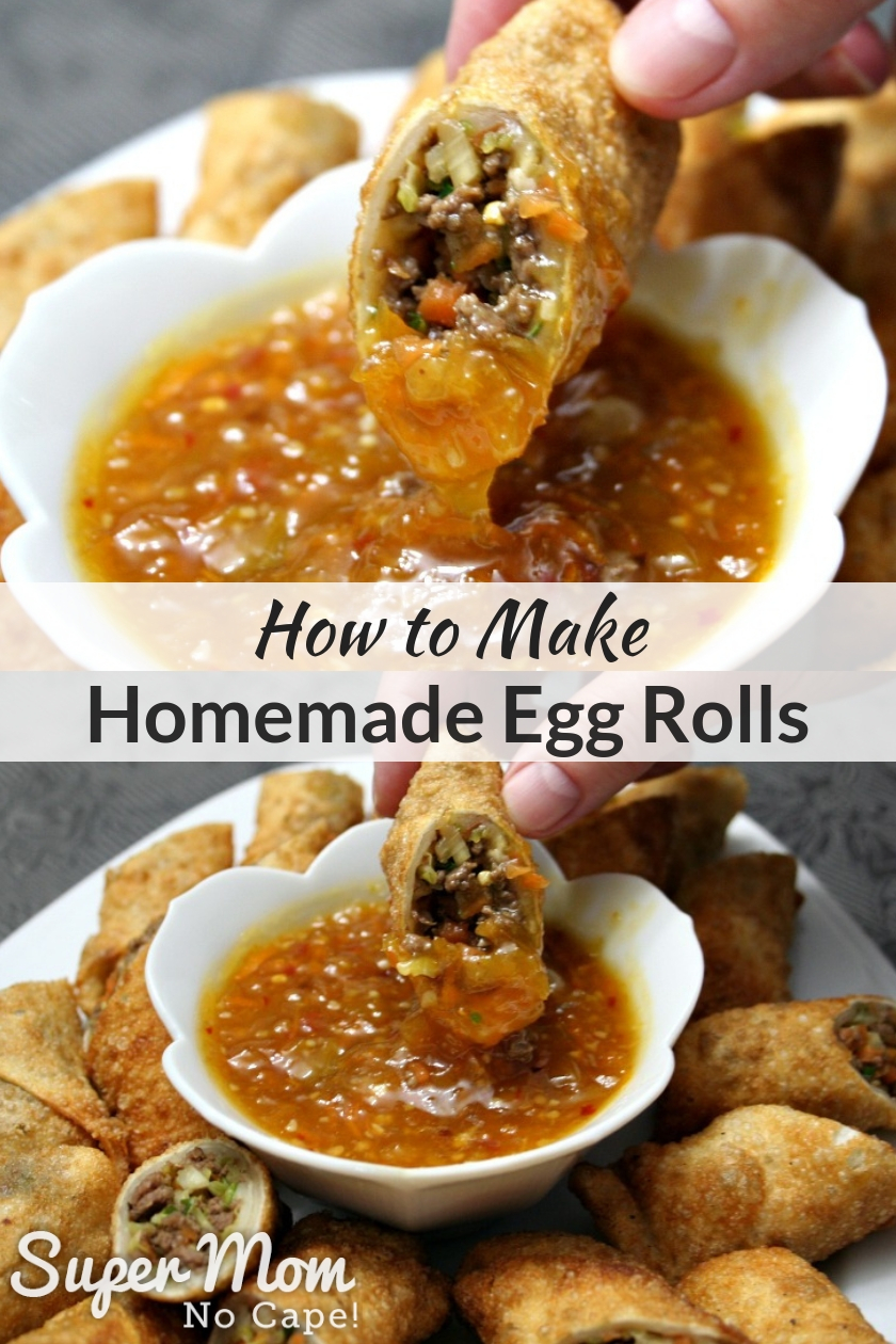 Collage photo of homemade egg roll being dipped into a bowl of orange sauce