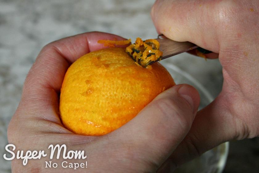 Medium sized orange having the zest removed