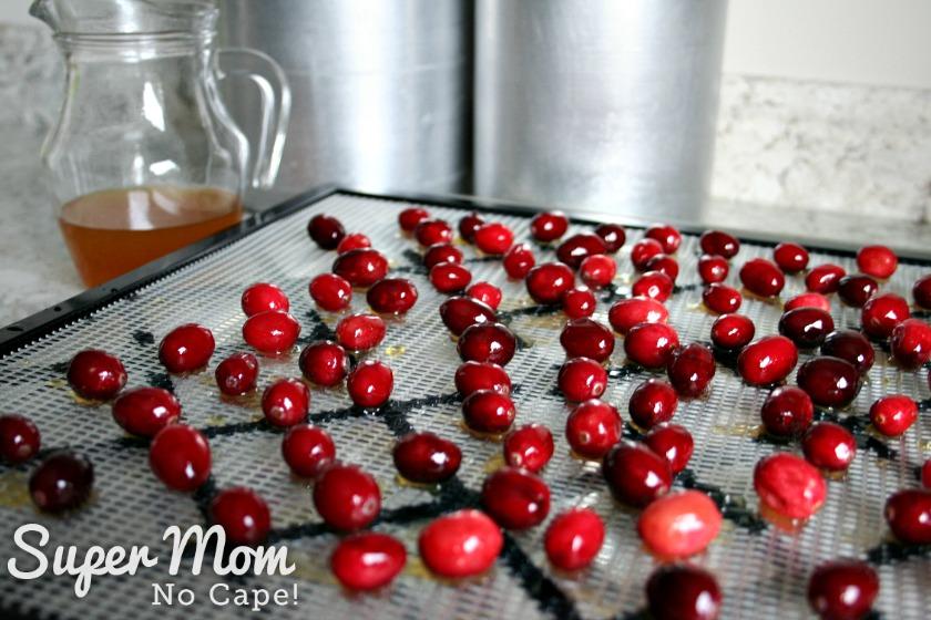 Orange mixture soaked cranberries draining on rack