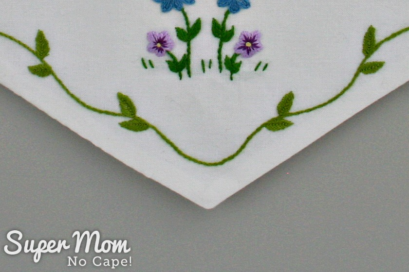 Embroidered vine and leaves on the Hello Spring embroidery pattern