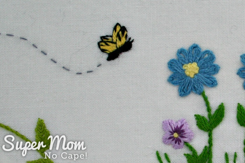 Embroidered yellow butterfly from Hello Spring embroidery pattern