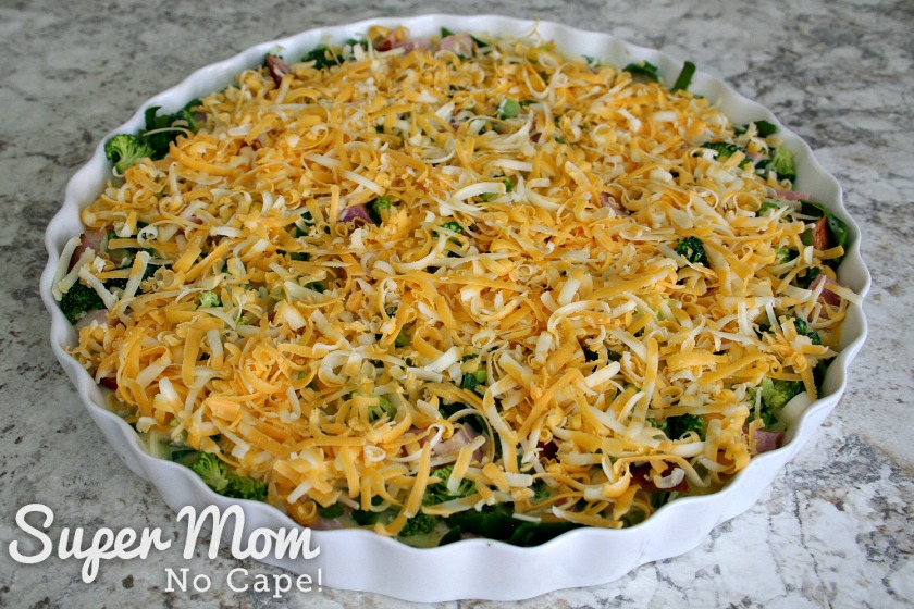 Crustless Quiche ready to go in the oven