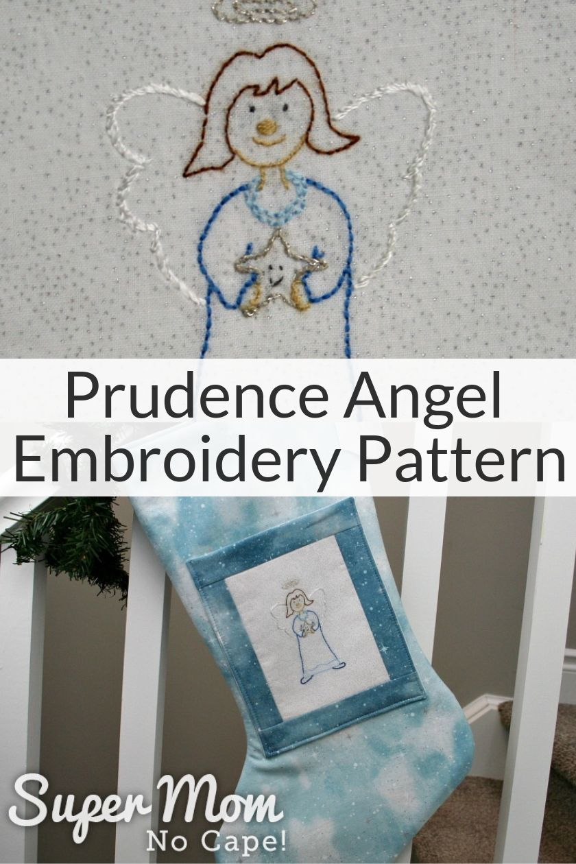Collage image of Prudence Angel Embroidery Pattern with Prudence in top photo and angel stocking in bottom photo