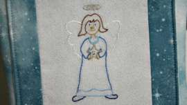Finish embroidery of the Prudence Angel embroidery pattern