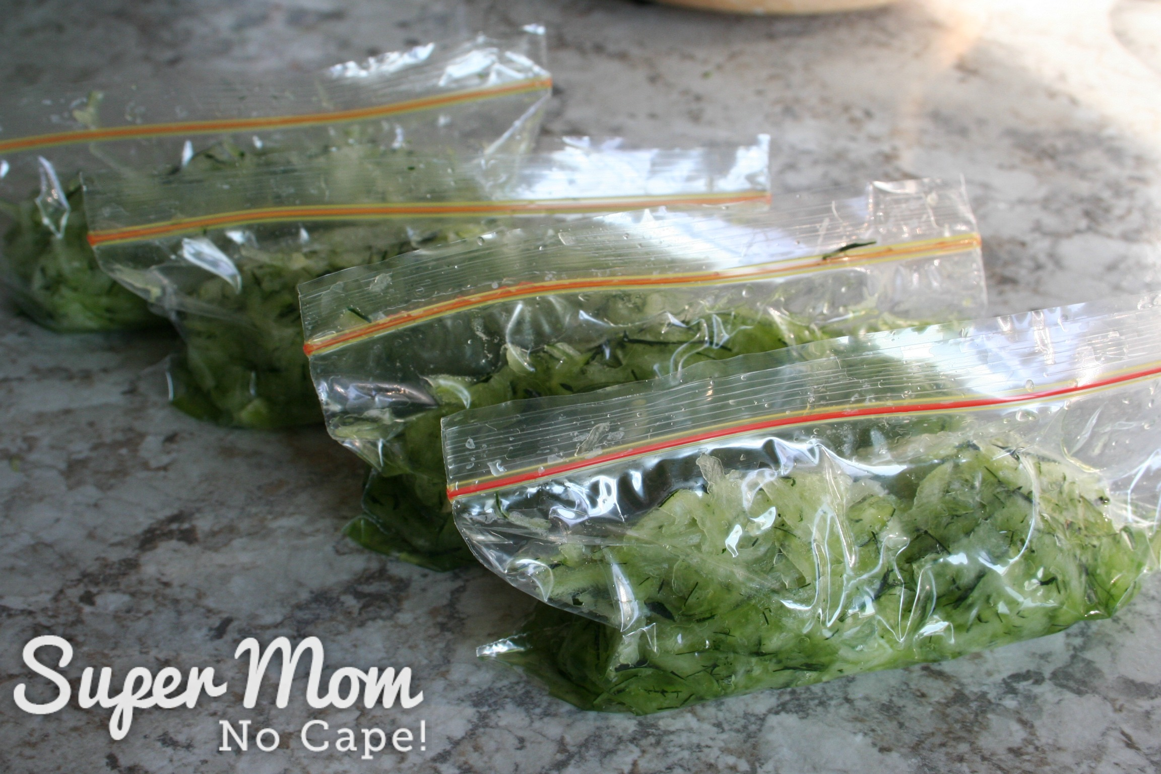 4 small bags of grated zucchini