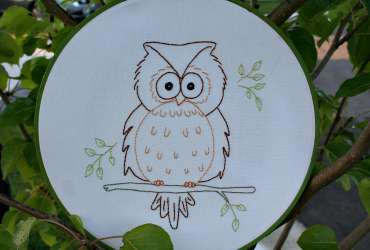 Owain Owl Embroidery Pattern hooped in a green painted hoop