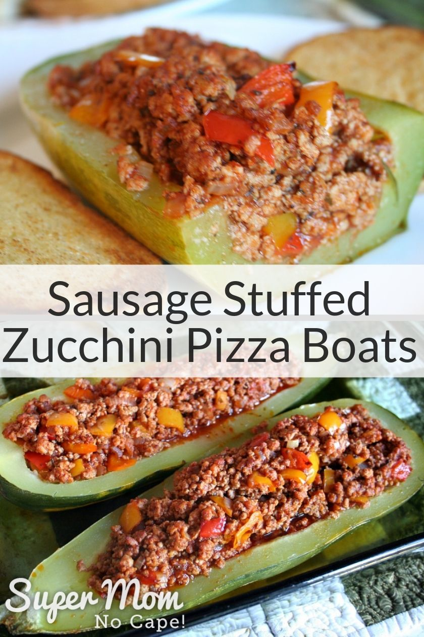 Collage image with photo of Sausage Stuffed Zucchini Pizza Boats on a white plate in top and 2 zucchini boats in the bottom