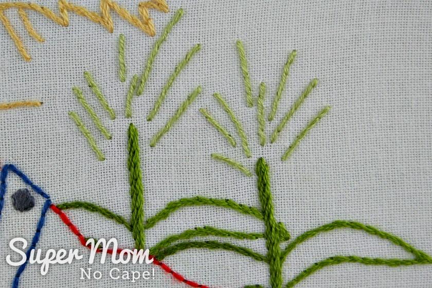 Embroidered corn stalk tassels