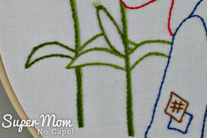 Embroidered corn stalks and ear of corn from Strawbyn Scarecrow embroidery pattern