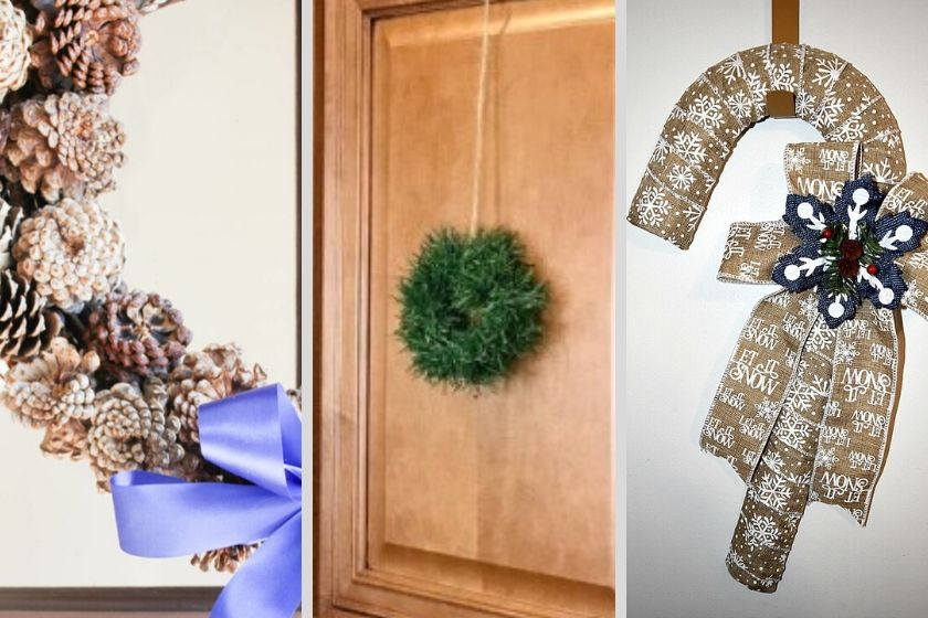 Collage photo of 3 DIY Christmas Wreaths