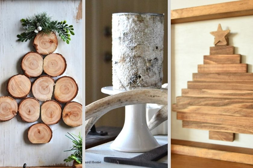 Collage of 3 Rustic DIY Wood Christmas Projects