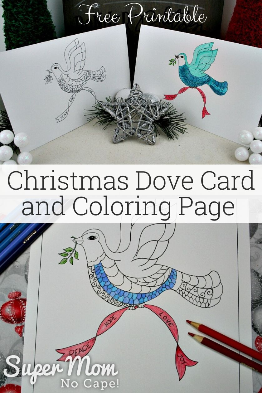 Collage Photo with a text overlay. Two Christmas Dove cards on top and coloring page started being colored on the bottom