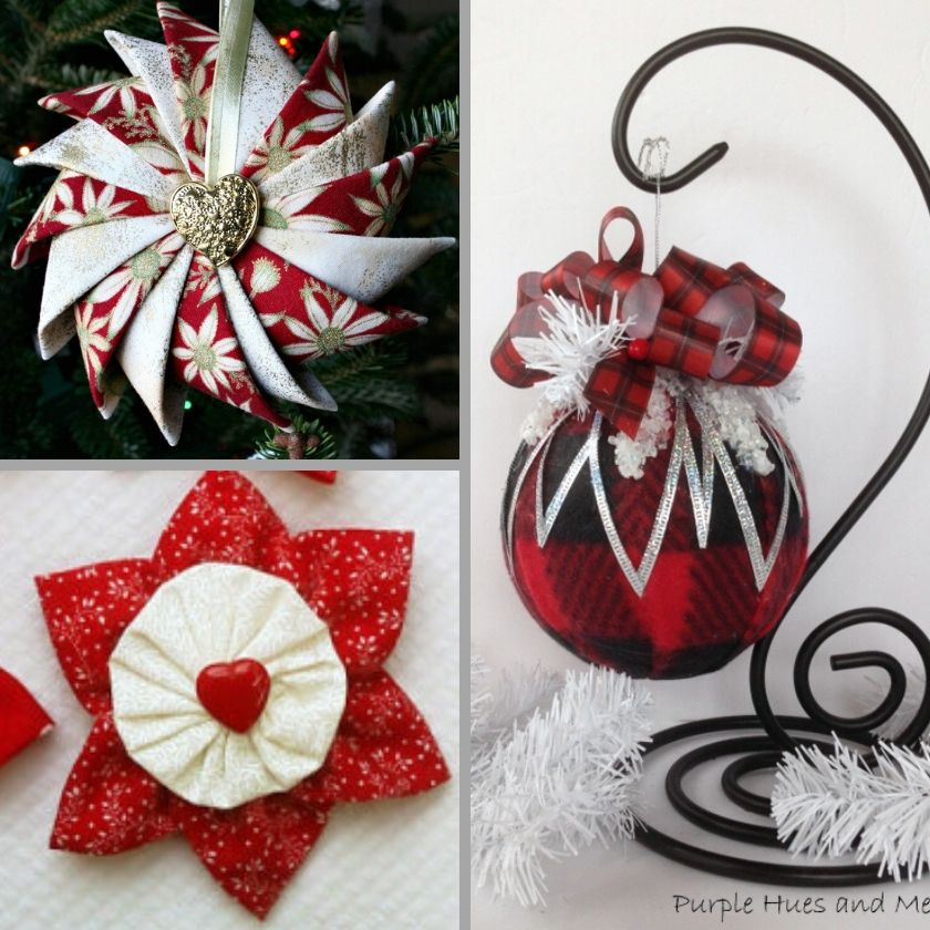 Collage Photo of 3 DIY Fabric Ornaments
