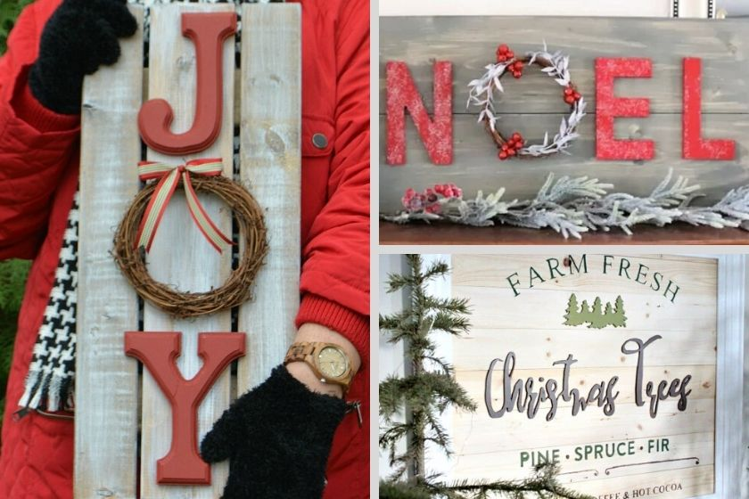 Collage photo of 3 DIY Christmas signs