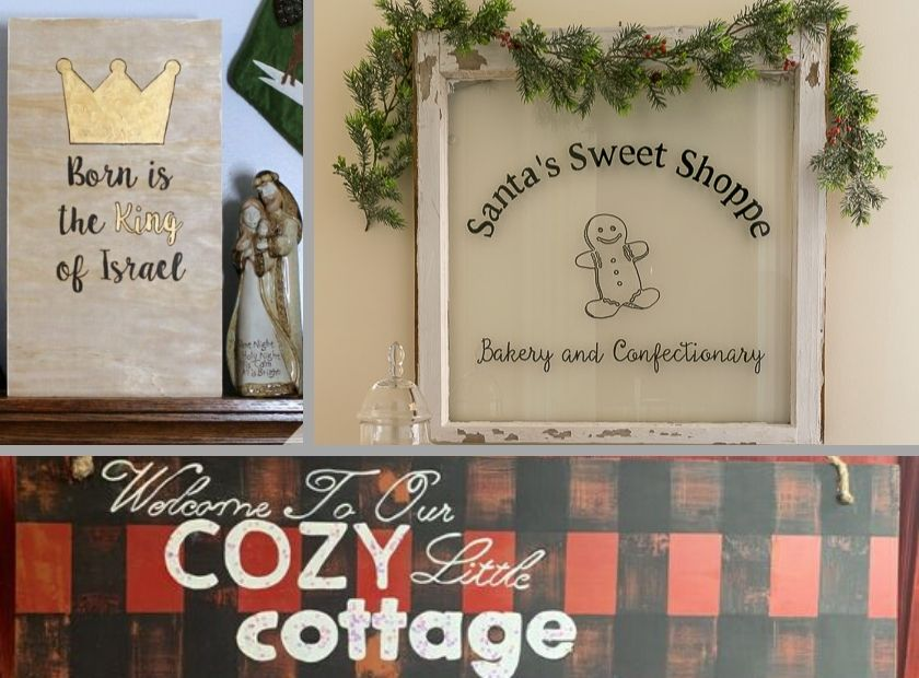 Collage photo of 3 more DIY Christmas signs