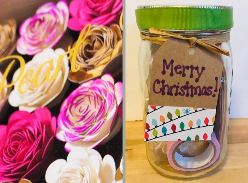 Paper Flowers and Christmas Gift Jar