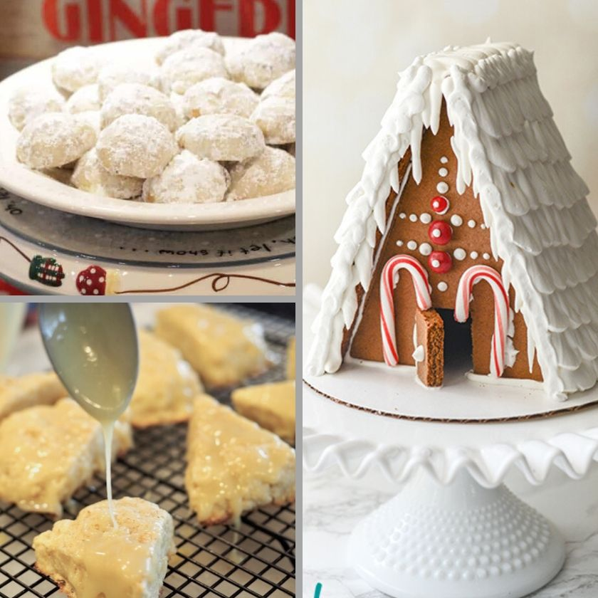 Pecan Sandies, Scones and Gingerbread house