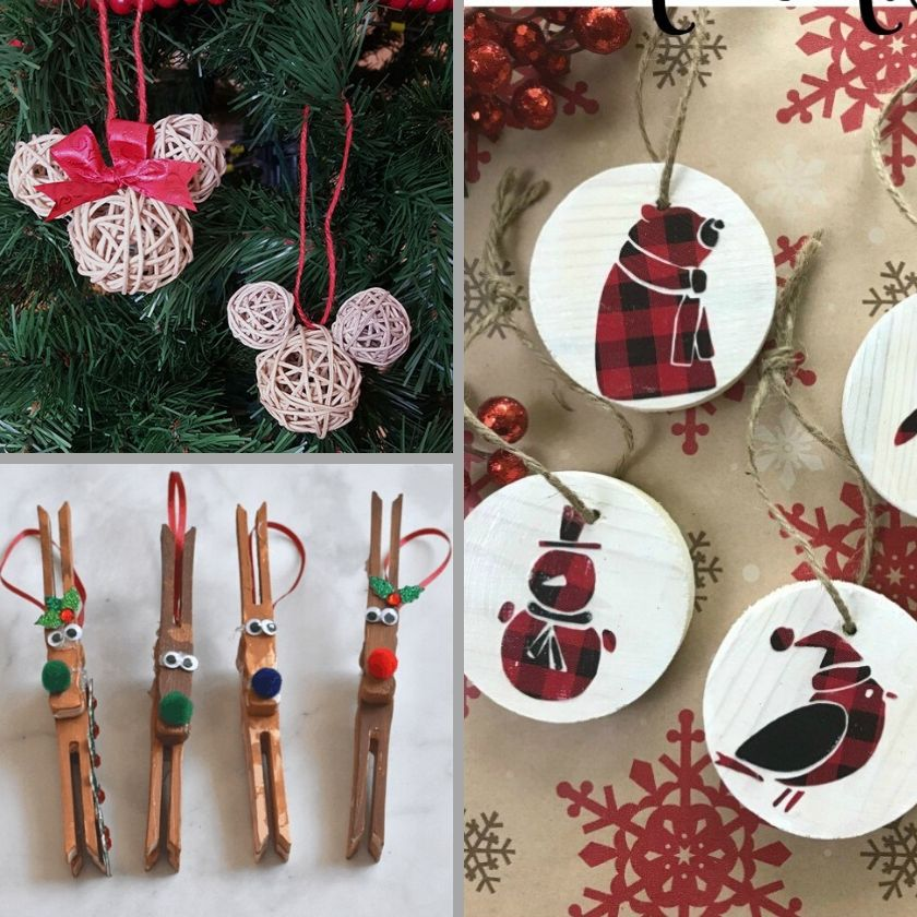 Photo collage of 3 wood DIY Ornaments