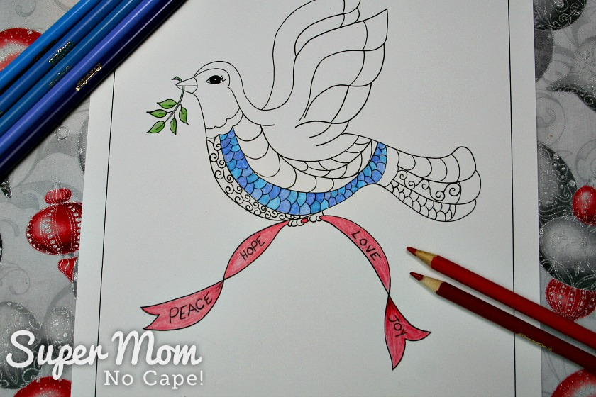 Christmas Dove coloring page with branch, some breast feathers and ribbon colored.