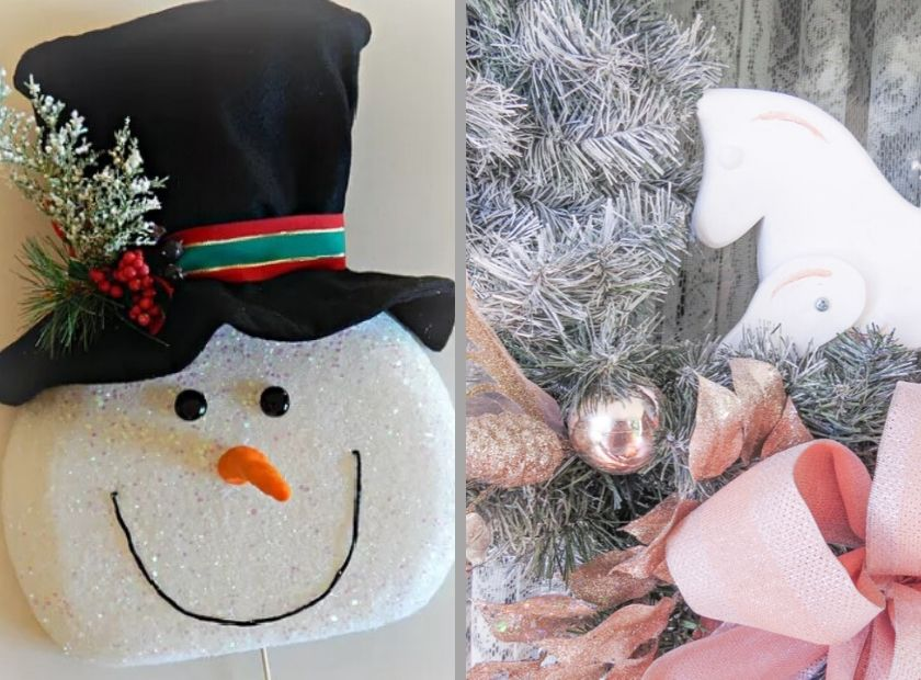 Snowman wreath and Flocked wreath collage