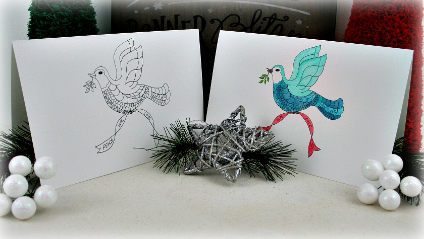 Christmas Dove Card and Coloring Page