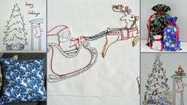 Collage of Handmand Homemade Holidays projects, three embroideries and 2 sewing patterns
