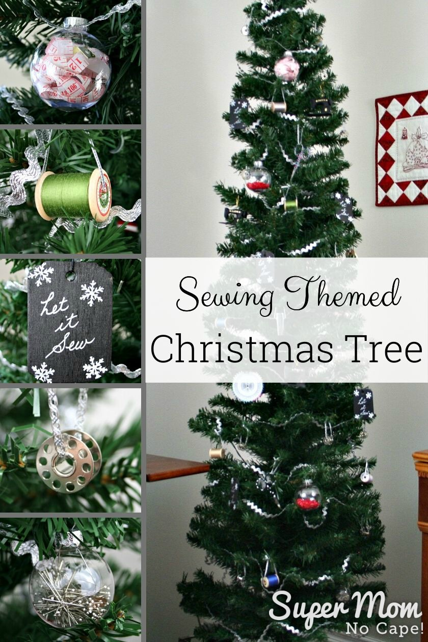 Collage photo of the sewing themed Christmas tree highlighting some of the ornaments