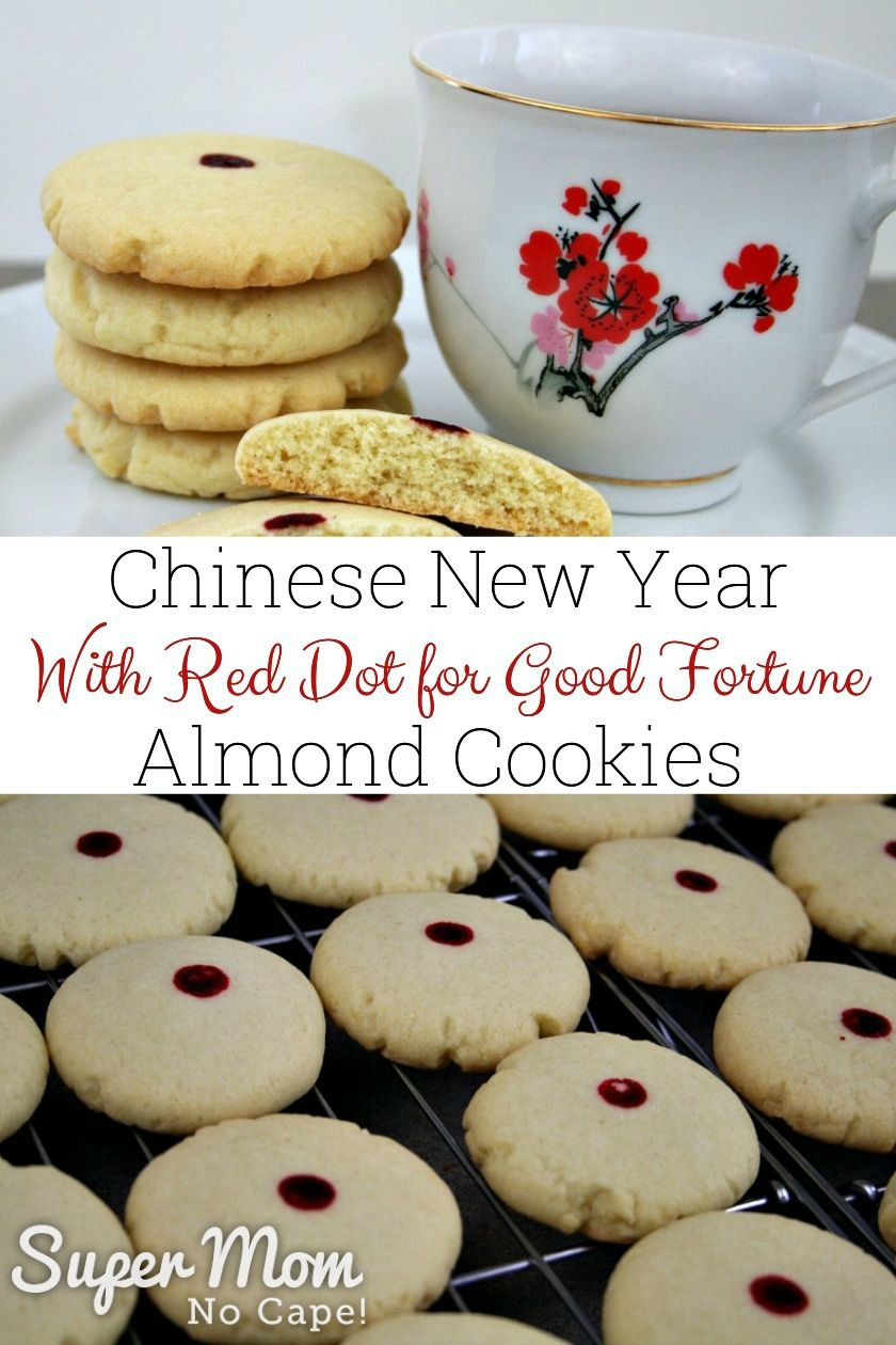 Collage photo of Red Dot Almond Cookies for Chinese New Year with text overlay