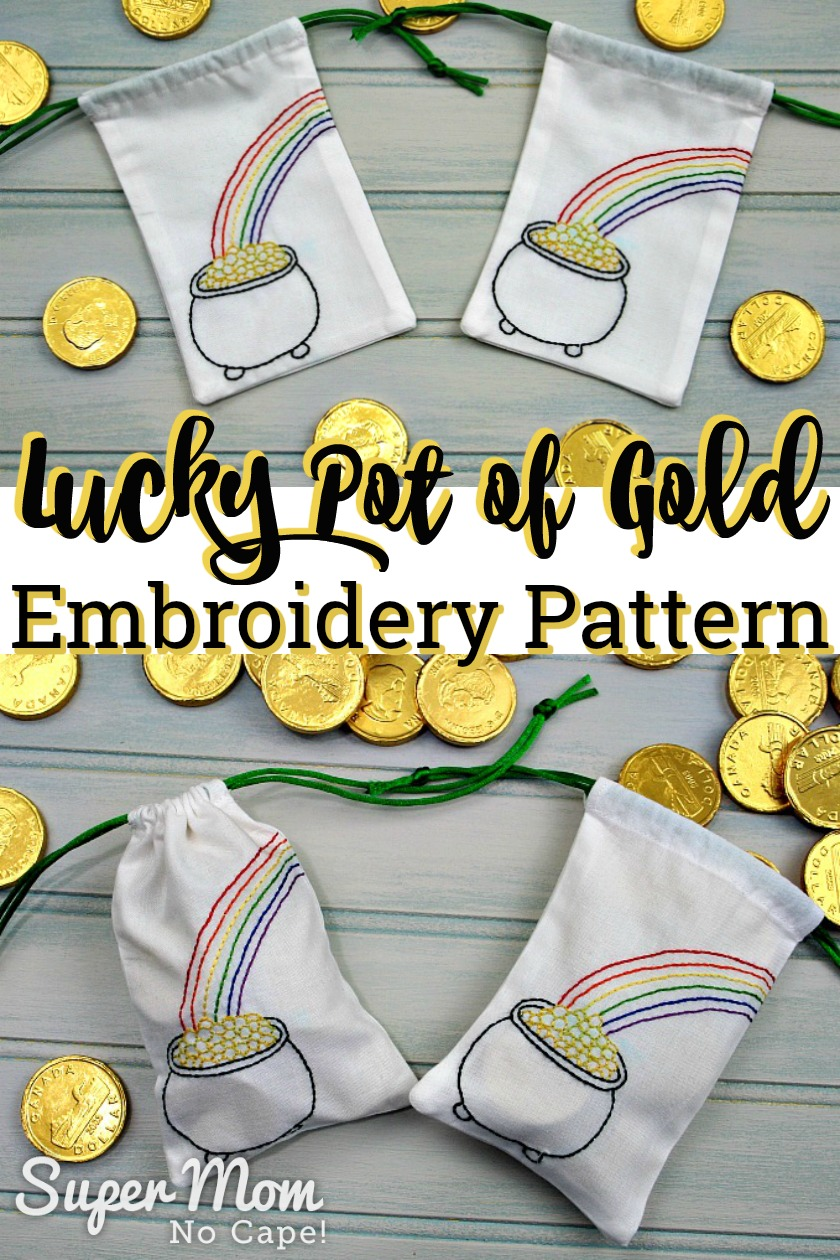 Collage of drawstring bags with gold foil covered chocolate coins