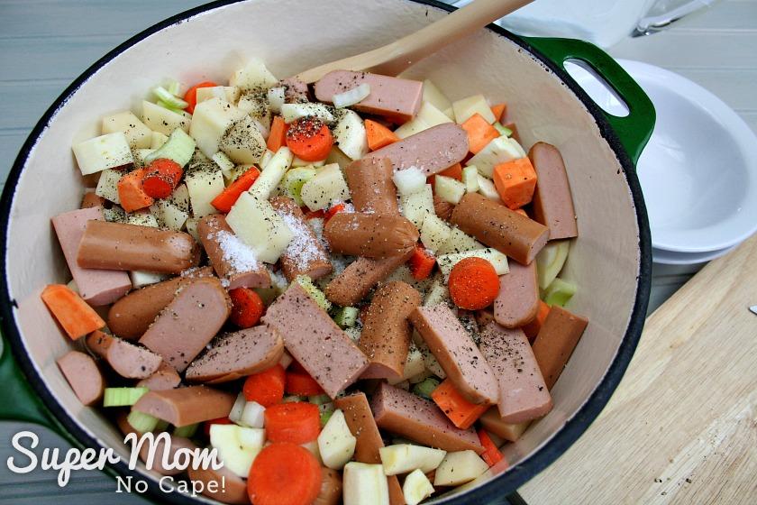 Wiener Stew ingredients in dutch oven
