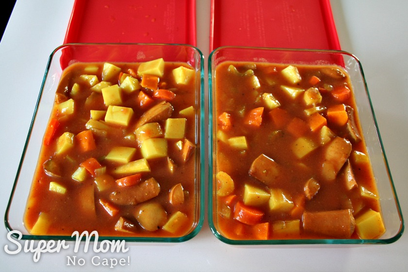 2 glass freezer containers full of wiener stew