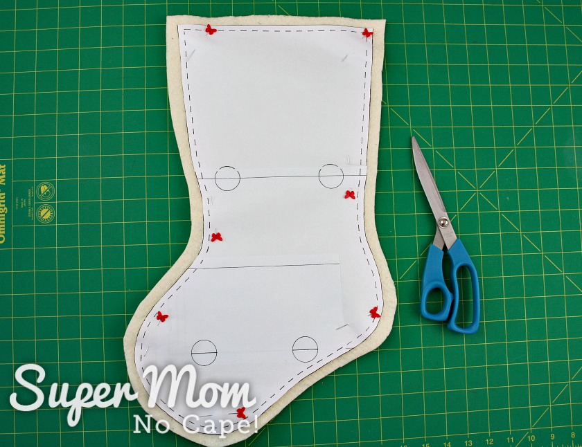 Batting for the stocking base cut out with half inch extra all the way around.