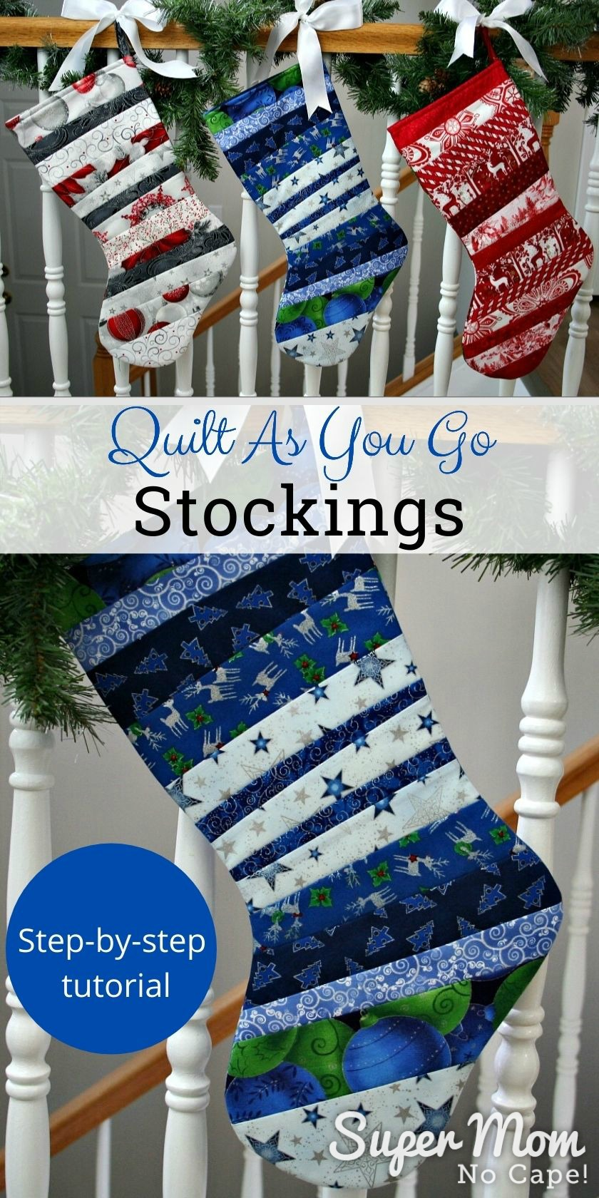 Collage photo of with three stocking on the top and a blue stocking on the bottom