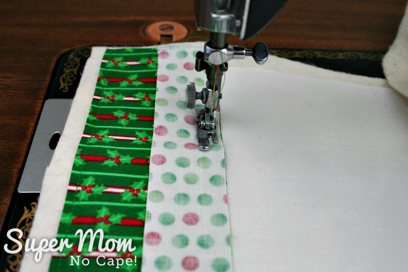 Sewing the second strip of fabric to the stocking base